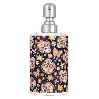 Sugar Skull Toothbrush Holder & Soap Dispenser Set