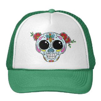 Sugar Skull trucker hat with flowers