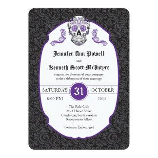 Sugar Skull Violet Damask Wedding Invitations
