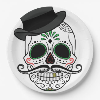 Sugar skull w/ mustache and top hat Paper Plates