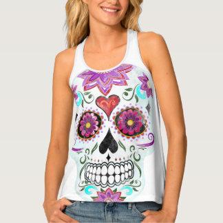 Sugar skull watercolor singlet