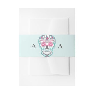 Sugar Skull Wedding Invitation belly bands Invitation Belly Band