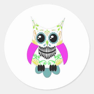 Sugar Skull White Multi Pink Owl Classic Round Sticker