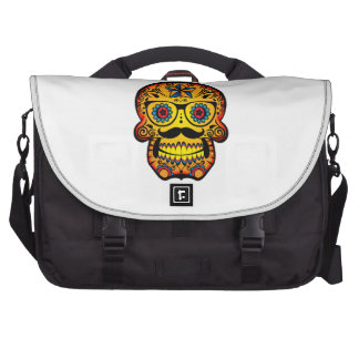 Sugar Skull with a Moustache and Glasses Laptop Commuter Bag
