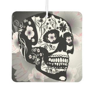 Sugar skull with beautiful flowers car air freshener