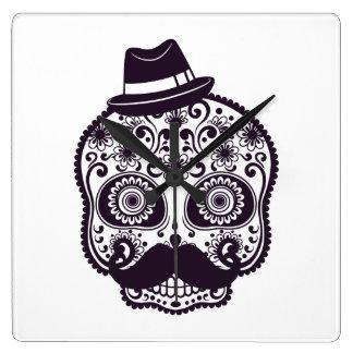 Sugar Skull with Fedora Hat Wallclock