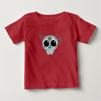 Sugar Skull with flowers and bee Baby T-Shirt