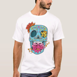 Sugar Skull With Flowers T-Shirt