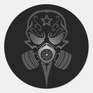 Sugar Skull with Gas Mask Round Sticker