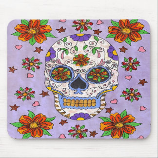 Sugar Skull with Marigolds Mouse Pad