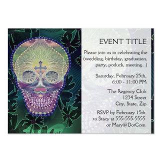 Sugar skull with rainbow colors, hearts custom invites