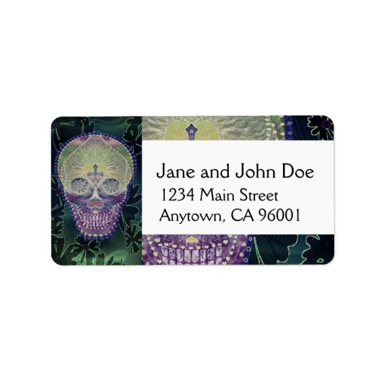 Sugar skull with rainbow colours, hearts address label