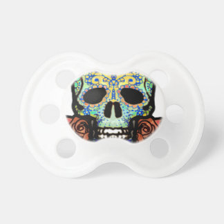 Sugar Skull with Roses Baby Pacifiers