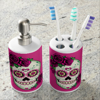 Sugar Skull with Roses Bathroom Set
