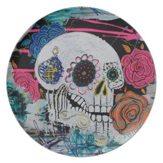 Sugar Skull with Roses Dinner Plates