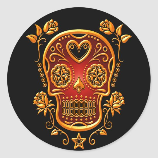 Sugar Skull with Roses, yellow and red Classic Round Sticker