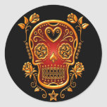 Sugar Skull with Roses, yellow and red Round Sticker