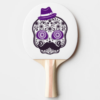 Sugar Skull With Small Purple Hat and Mustache Ping Pong Paddle