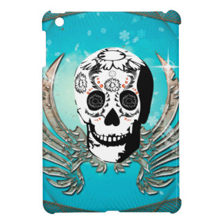 Sugar skull with wings made of metal cover for the iPad mini