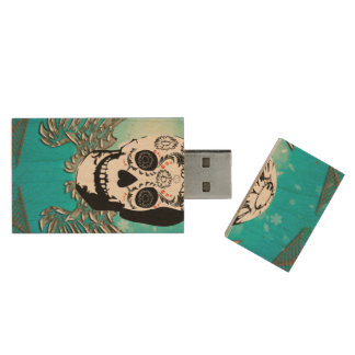 Sugar skull with wings made of metal wood USB 2.0 flash drive