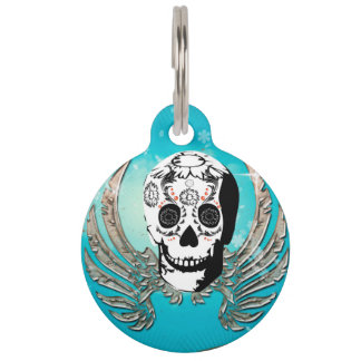 Sugar skull with wings made of metal pet tag