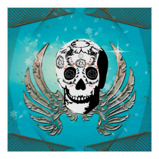 Sugar skull with wings made of metal poster