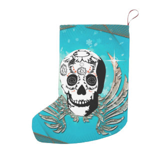 Sugar skull with wings made of metal small christmas stocking