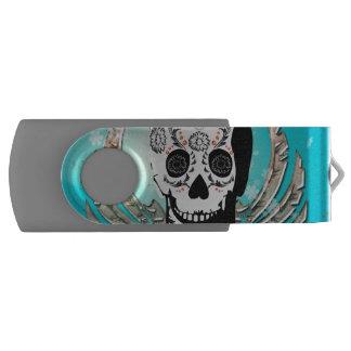 Sugar skull with wings made of metal swivel USB 2.0 flash drive
