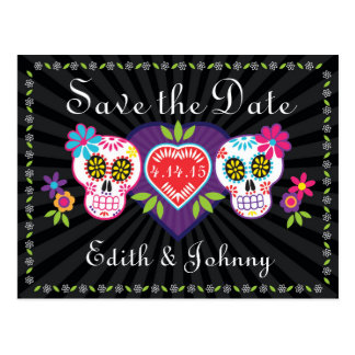 Sugar Skulls and Flowers Save the Date Postcard