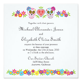 Sugar Skulls and Flowers Wedding Invitation