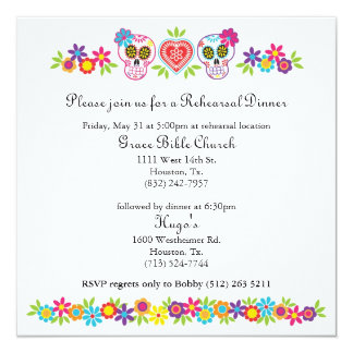 Sugar Skulls and Flowers Wedding Yellow Bkgnd 13 Cm X 13 Cm Square Invitation Card