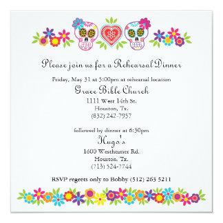 Sugar Skulls and Flowers Wedding Yellow Bkgnd 13 Cm X 13 Cm Square Invitation Card
