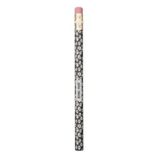 Sugar Skulls and Polka Dots on Black Personalized Pencil