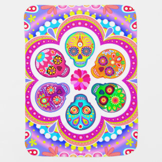 Sugar Skulls Baby Blanket - Colorful Art