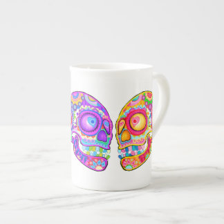 Sugar Skulls Couple Bone China Mug - Colorful Art