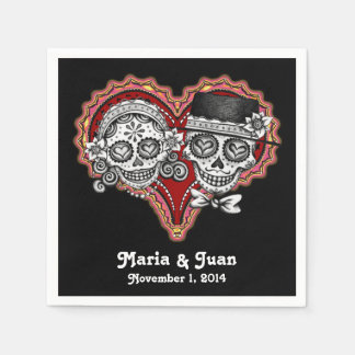 Sugar Skulls Couple Paper Napkins for Wedding