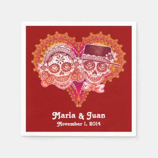 Sugar Skulls Couple Paper Napkins for Wedding