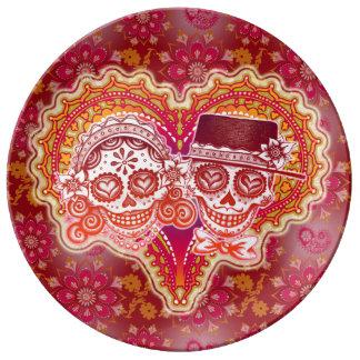 Sugar Skulls Couple Porcelain Plate