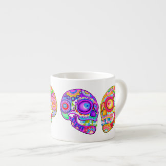 Sugar Skulls Espresso Mug - Colorful Groovy Art