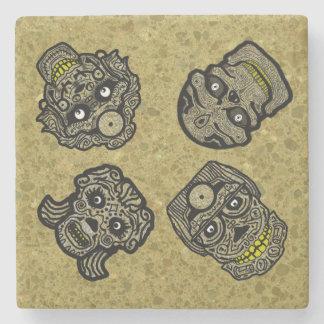 SUGAR SKULLS GOTHIC YELLOW by Slipperywindow Stone Coaster