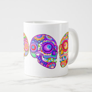 Sugar Skulls Jumbo Mug - Colorful Groovy Art 20 oz