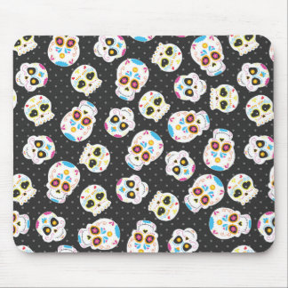 Sugar Skulls on Black with Polka Dots Mouse Pad