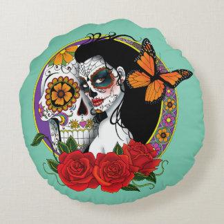 Sugar Skulls Round Cushion