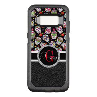Sugar skulls with a leather bottom red Monogram OtterBox Commuter Samsung Galaxy S8 Case