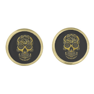 Sugar Skulls Your Background Color Gold Finish Cufflinks