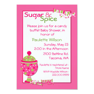 Sugar & Spice Baby Shower Candy Buffet Invitation