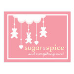 Sugar & Spice Girl Baby Shower Postcard