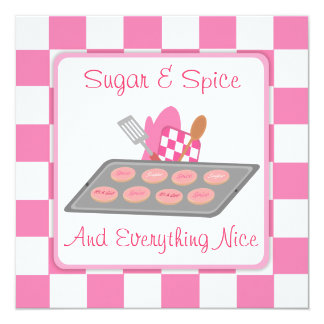 Sugar & Spice Pink Checkers and Cookie Baby Shower Card