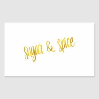 Sugar & Spice Quote Faux Gold Foil Glitter Rectangular Sticker