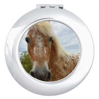 Sugar The Appaloosa Horse, Round Compact Mirror. Mirror For Makeup